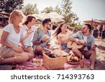 group of friends partying and... | Shutterstock . vector #714393763