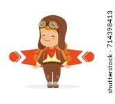 happy little boy in pilot...   Shutterstock .eps vector #714398413