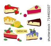 cheesecake. set. chocolate ...   Shutterstock .eps vector #714402337
