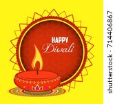 happy diwali diya oil lamp... | Shutterstock .eps vector #714406867