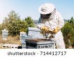 beekeeper working collect honey.... | Shutterstock . vector #714412717