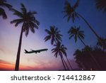 airplane taking off from... | Shutterstock . vector #714412867