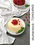 plate with delicious vanilla... | Shutterstock . vector #714414943