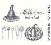 halloween hand drawn objects... | Shutterstock .eps vector #714416767