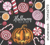 halloween celebration... | Shutterstock .eps vector #714416773