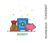 banking illustration  safe ... | Shutterstock .eps vector #714420607