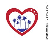 heart logo with palms trees. ... | Shutterstock .eps vector #714421147