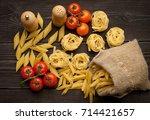 pasta with ingredients | Shutterstock . vector #714421657