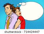 couple loving wife and confused ... | Shutterstock .eps vector #714424447