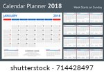 2018 calendar print template... | Shutterstock .eps vector #714428497