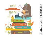cute cartoon animals reading... | Shutterstock .eps vector #714434467