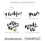 modern korean hand lettering... | Shutterstock .eps vector #714449167