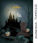 halloween party invitation with ... | Shutterstock .eps vector #714451123