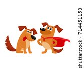 two funny brown dog characters  ... | Shutterstock .eps vector #714451153