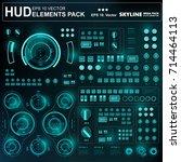 futuristic green virtual... | Shutterstock .eps vector #714464113