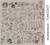 hand drawn food elements. set... | Shutterstock .eps vector #714472477