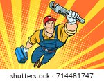male superhero plumber with a... | Shutterstock .eps vector #714481747