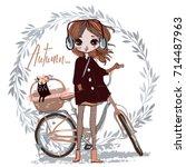 cute autumn girl with cat | Shutterstock .eps vector #714487963