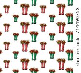 vector red and green polka dot... | Shutterstock .eps vector #714490753