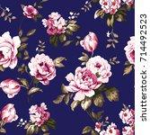 shabby chic vintage roses ... | Shutterstock . vector #714492523