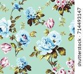 shabby chic vintage roses ... | Shutterstock . vector #714493147
