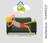 poor man lying on the couch and ... | Shutterstock .eps vector #714495217