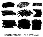 painted grunge stripes set.... | Shutterstock .eps vector #714496963