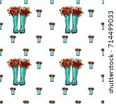 vector blue polka dot wellies... | Shutterstock .eps vector #714499033