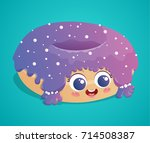 cute donut with purple icing... | Shutterstock .eps vector #714508387