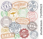 rome italy stamp vector art... | Shutterstock .eps vector #714509623