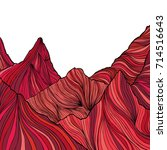 hand drawn red mountain peak... | Shutterstock .eps vector #714516643