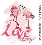 Flamingos Love Story. Hand...