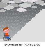 boy in wheel chair near a big... | Shutterstock .eps vector #714521707