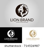 lion brand logo. three versions.... | Shutterstock .eps vector #714526987
