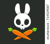 Stock vector cartoon rabbit skull with carrots cute jolly roger design halloween vector illustration 714529087