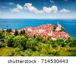 aerial view of old town piran....   Shutterstock . vector #714530443