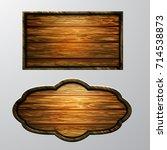 wooden signs  vector icon set | Shutterstock .eps vector #714538873