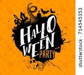 happy halloween lettering logo. ... | Shutterstock .eps vector #714545353
