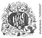 happy halloween lettering logo. ...   Shutterstock .eps vector #714545437