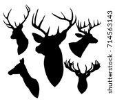head deer black | Shutterstock .eps vector #714563143