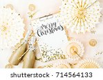 merry christmas card  and... | Shutterstock . vector #714564133