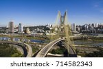view of a cable stayed bridge | Shutterstock . vector #714582343