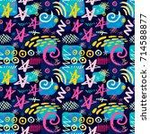 creative seamless pattern.... | Shutterstock .eps vector #714588877