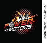power motor logo with piston... | Shutterstock .eps vector #714604027