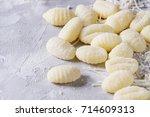 raw uncooked potato gnocchi... | Shutterstock . vector #714609313