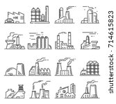 factory building outline set.... | Shutterstock .eps vector #714615823