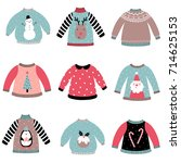 cute christmas sweaters vector... | Shutterstock .eps vector #714625153
