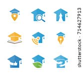 set of graduate hat logo... | Shutterstock .eps vector #714627913