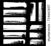 set of grunge ink brush strokes ... | Shutterstock .eps vector #714661837