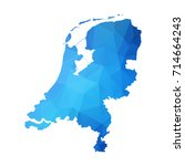 map of netherlands   blue... | Shutterstock .eps vector #714664243